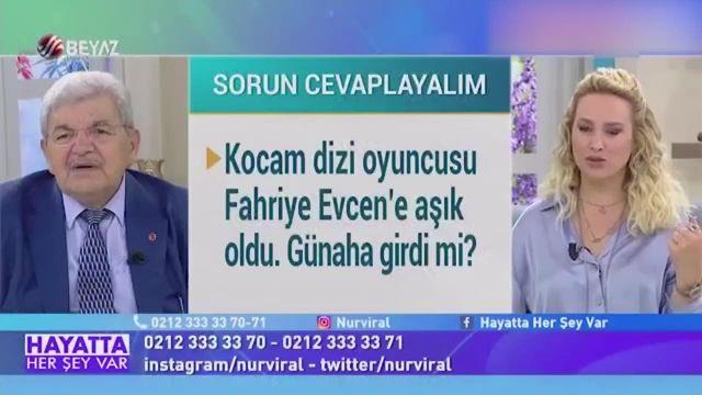 Canlı yayında şaşkına çeviren soru: Kocam Fahriye Evcen'e aşık, günaha girer mi?