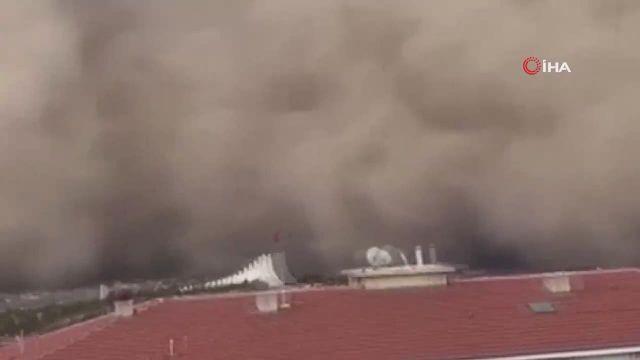 Ankara'da kum fırtınası böyle görüntülendi