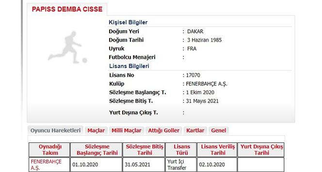 Fenerbahçe'de Cisse'nin lisansı çıktı