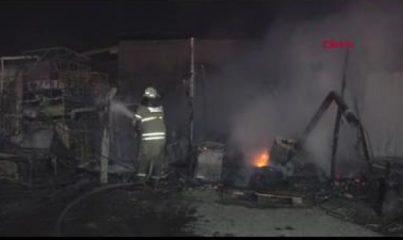 TIR bakım istasyonunda çıkan yangın paniğe neden oldu