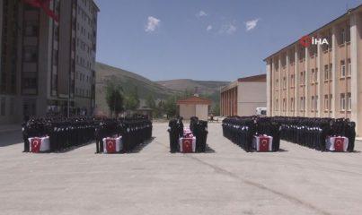 Bayburt'ta polis adaylarının mezuniyet sevinci