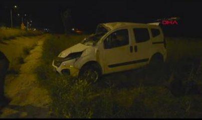Hafif ticari araç şarampole devrildi 1 ölü, 5 yaralı