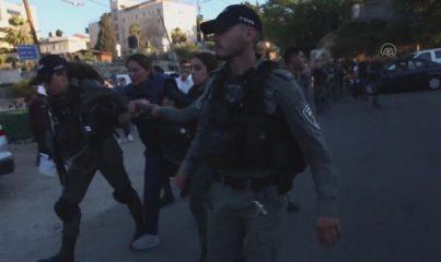 İsrail polisi, Şeyh Cerrah Mahallesi'ndeki Filistinlilere destek için yapılan eyleme müdahale etti
