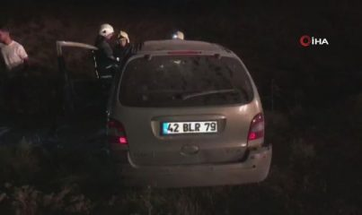 Sürücüsü uyuyan otomobil şarampole uçtu: 2 yaralı